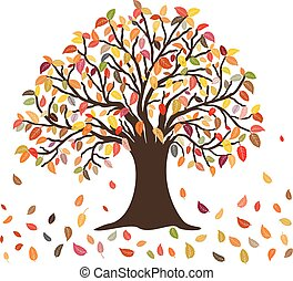 feuilles automne, arbre, couleurs
