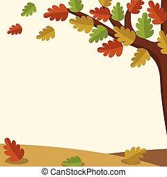 feuilles automne, arbre, fond