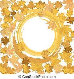 feuilles automne, bannière, [].eps, gabarit