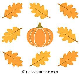 feuilles automne, cadre, citrouille