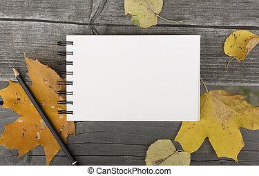 feuilles, automne, cahier, vide, baissé, composition
