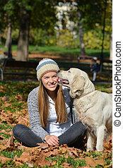 feuilles automne, chien, girl