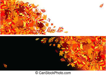 feuilles automne, conception, bannières, ton