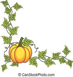 feuilles automne, conception, citrouille