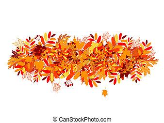 feuilles automne, conception, ton, fond