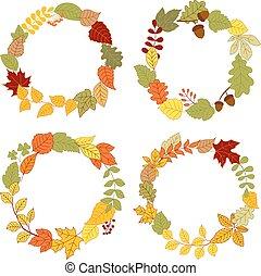 feuilles automne, couronnes, glands, baies