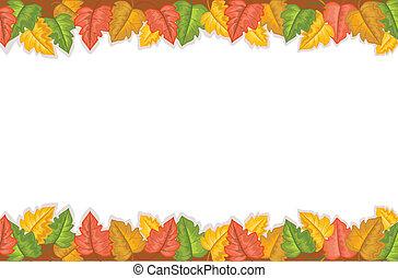 feuilles automne, doré, frontière