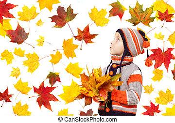 feuilles automne, enfant