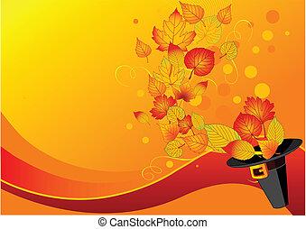 feuilles automne, et, pilgrim%u2019s, chapeau