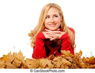 feuilles automne, femme