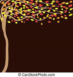 feuilles automne, fond, arbres, tomber