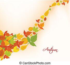 feuilles automne, fond, automne