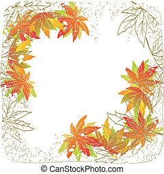 feuilles automne, fond blanc, coloré