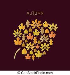 feuilles automne, fond, icônes