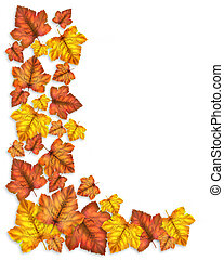 feuilles, automne, frontière, automne
