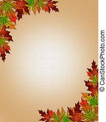 feuilles automne, frontière, cadre, automne
