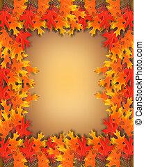 feuilles automne, frontière, cadre