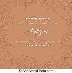 feuilles automne, frontière, fond