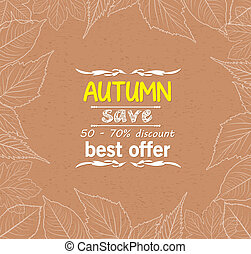 feuilles automne, frontière, retro