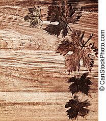 feuilles automne, frontière, sur, bois, fond