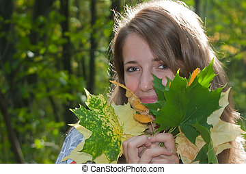 feuilles automne, girl, automne