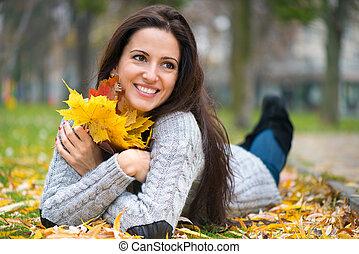 feuilles automne, girl, jeune
