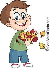 feuilles automne, gosse