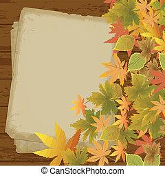 feuilles automne, papier, vieux, fond