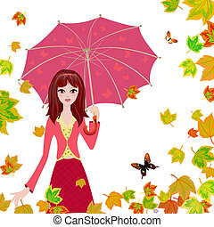 feuilles automne, parapluie, tomber, girl