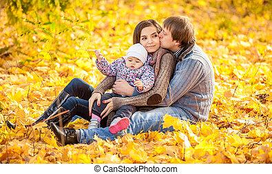 feuilles automne, parc, famille, séance