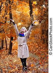 feuilles automne, parc, girl, jets