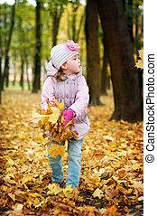 feuilles automne, parc, girl, jouer