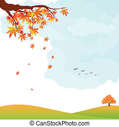 feuilles automne, paysage, coloré