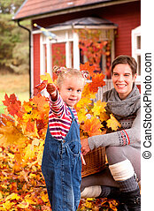 feuilles automne, playinig, fille, mère