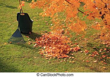 feuilles automne, râteau, mort