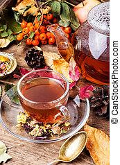 feuilles automne, tasse, thé