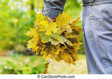 feuilles automne, tenue, homme