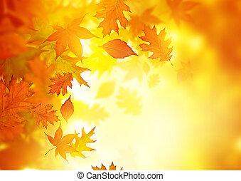 feuilles, automne, tomber