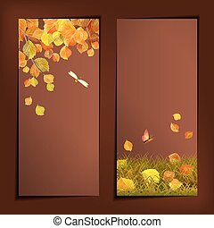 feuilles automne, vecteur, bannières, automne