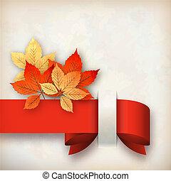 feuilles automne, vecteur, carte, automne