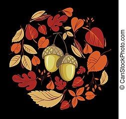 feuilles automne, vecteur, carte