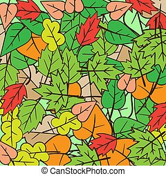 feuilles, automne, vecteur, conception, automne, minimal