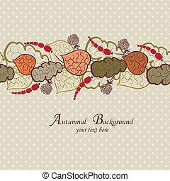 feuilles automne, vecteur, fond, baies