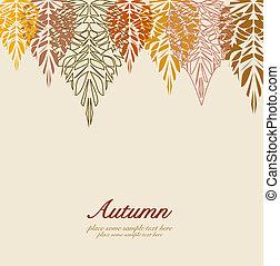 feuilles automne, vecteur, fond