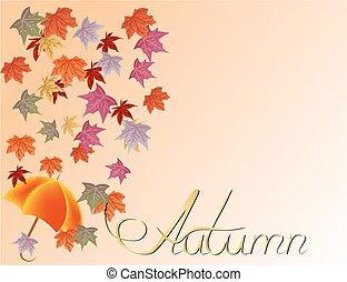 feuilles automne, vecteur, parapluie, fond