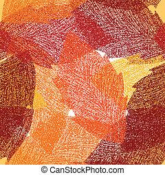 feuilles automne, vecteur, pattern., seamless