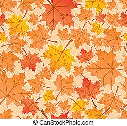 feuilles automne, vecteur, seamless, modèle