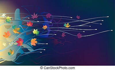 feuilles automne, vent