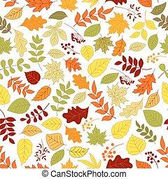 feuilles, baies, fond, seamless, coloré
