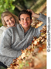 feuilles, baissé, couple, vergé